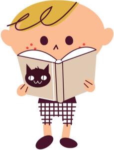 朗読する少年